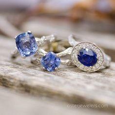 Beautiful cornflower blue sapphires by Katey Brunini at www.osterjewelers.com