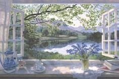Giclee Print: The First Bluebells by Stephen Darbishire : Window View, Open Window, Creation Photo, Summer Painting, Through The Window, Pastel Drawing, Country Art, Beautiful Paintings, Beautiful World