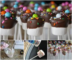 How to DIY Sprinkled Marshmallow PopsYou can find Marshmallow pops and more on our website.How to DIY Sprinkled Marshmallow Pops Chocolate Dipped Marshmallows, Chocolate Covered Pretzel Rods, Spring Desserts, Christmas Desserts, Minnie Mouse Party, Lego Cake Pops, Marshmallow Cupcakes, Birthday Desserts, Party Treats