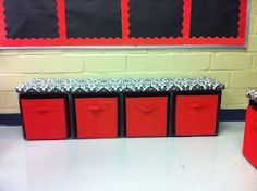 Milk crates zip-tied together on their sides so that a bench seat fits on top. #autism #realautismclassrooms