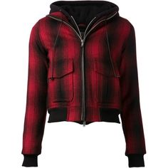 R13 Plaid Hoodie Bomber Jacket (€1.085) ❤ liked on Polyvore featuring outerwear, jackets, tops, coats, kirna zabete, off duty, bomber jacket, flight bomber jacket, tartan jacket and bomber style jacket