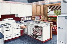 1947 AGA Shipshape Kitchen - A variant on the popular red, white, and blue theme replaced the red with a maroon. This kitchen design shows all the amenities desired by the American homemaker after WWII including the stand mixer, built-in dishwasher, and a 1940s Kitchen, Red Kitchen, Vintage Kitchen, Retro Kitchens, Fixer Upper, 1950s Interior, Interior Design, Kitchen Pictures, Kitchen Pics