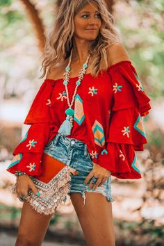 Casual Pailletten Print Flare Mouw Katoen Polyester Off the Shoulder Blouses, veryvoga Look Hippie Chic, Hippie Style, Bohemian Style, Boho Chic, Bohemian Print, Bohemian Fashion, Gypsy Style, Tops Boho, Bohemian Blouses