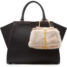 Fendi Micro Peek-A-Boo Leather Tote with Mink Fur Stylish Handbags, Fashion Handbags, Tote Handbags, Purses And Handbags, Luxury Handbags, Designer Handbags, Fendi Purses, Fendi Bags, Black Leather Handbags