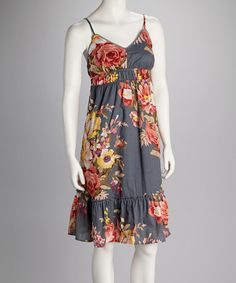 Take a look at this Gray Floral Sleeveless Dress by Jazzy Martini on #zulily today!  $19.99