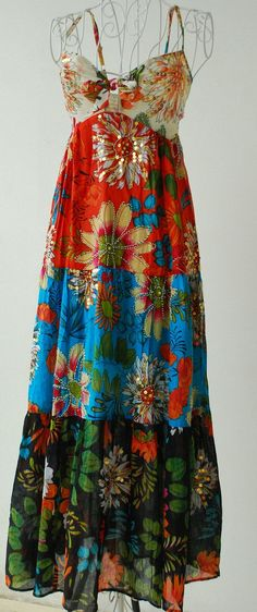 Amazing---Boho Gypsy Style Long Tiered Ruffle Dyed Summer Passional Color soft Cotton maxi dress/adjustable bust with adjustable bow tie.n/p, pretty, it needs a face with Windblown Hair fix. Boho Gypsy, Bohemian Mode, Hippie Boho, Bohemian Style, Boho Chic, Gypsy Chic, Hippie Style, Gypsy Style, My Style