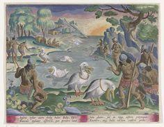 Karel van Mallery   Indianen vangen vis met behulp van pelikanen, Karel van Mallery, Jan Collaert (II), Joannes Galle, 1634   Inboorlingen in korte veren rokjes, gewapend met pijl en boog en stok, zijn verzameld langs een rivieroever. In de rivier zwemmen pelikanen die vissen vangen en deze naar de kant brengen. Zonsondergang (opgang?) aan de horizon. De prent heeft een Latijns onderschrift en is deel van een serie van jachttaferelen.