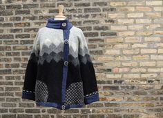 Monks Cardi, womens x large cardigan, asymmetrical sweater, wool, alpaca, blue, gray, black