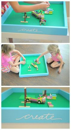 Loads of lego storage ideas for girls and boys bedrooms and toy rooms. Organising lego to look tidy and the kids can enjoy their lego play. Projects For Kids, Diy For Kids, Crafts For Kids, Diy Projects, Petite Table Ikea, Legos, Lego Tray, Diy Lego Table, Lego Play Table