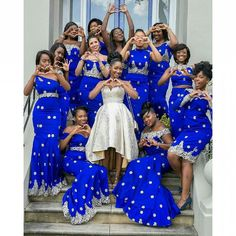 Amazing Royal Blue Mermaid Bridesmaid Gowns 7 Styles 2016 New Arrival Bridesmaids Dress For Wedding Women Special Occasion Dress African Print Fashion, African Fashion Dresses, African Attire, African Dress, Baby Bridesmaid Dresses, Prom Dresses, Royal Blue Bridesmaids, Dresses 2016, African Wedding Dress