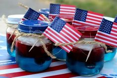Patriotic Party Jello Snacks-  I made these in small, clear picnic cups (disposable).  So easy and yummy too!