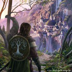 Boromir arrives to Rivendell, Joshua Cairos on ArtStation at https://www.artstation.com/artwork/Xb5Bl