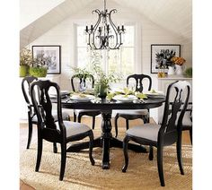 Dining Room Featuring The Celeste Chandelier, Queen Anne Dining Chairs And  Aris Pedestal Dining Table