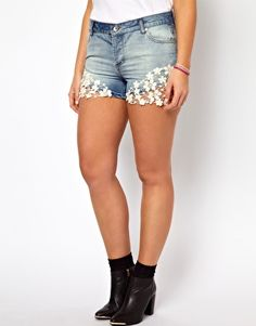 Image 4 of ASOS CURVE Exclusive Denim Short With Crochet Lace