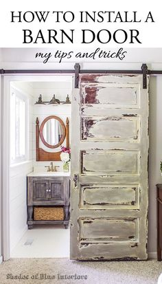 21 DIY Barn Door Projects for Easy Home Transformation - Decoration Ha . - 21 DIY Barn Door Projects for Easy Home Transformation – Decorating House Diy - Bathroom Barn Door, Diy Barn Door, Bathroom Cabinets, Bathroom Sinks, White Bathroom, Bathroom Shelves, Basement Bathroom, Install Barn Door, Sliding Door For Bathroom
