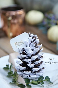 FRENCH COUNTRY COTTAGE: 5 Minute Decorating~ Place Setting Pinecones