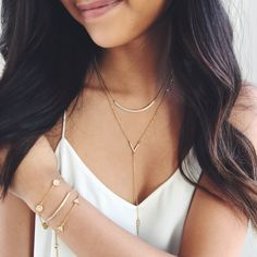 Adopt the geometric system — sleek shapes that make every outfit a sharp look. Geo bracelets and pave bar necklaces at  http://www.chloeandisabel.com/boutique/shannonlaird/ef6323