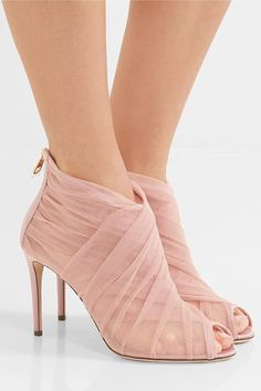 Heel measures approximately 90mm/ 3.5 inches Pastel-pink tulle and mesh Zip fastening along back Made in Italy