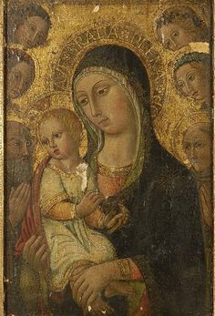 A566 SANO DI PIETRO (?) Madonna and Child, surrounded by St Anthony Abbott and St Bernardino of Siena looking on with four angels Painting Tempera and gold on panel 50.8 x 33.7cm Unknown (sold to anonymous at 25-6-2010 Eldred's, East Dennis, MA, USA)