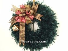 Green Christmas Wreath with Rustic Bow by thewreaths.com