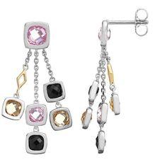 Gemstone Sterling Silver Geometric Linear Drop Earrings, Women's, Pink ($360) ❤ liked on Polyvore featuring jewelry, earrings, pink, gem earrings, drop earrings, gemstone jewelry, sterling silver gemstone jewelry and pink gemstone earrings