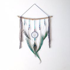 Dream Catcher Wall Hanging Peacock Feather by InspiredSoulShop