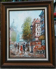 Paris City Street Scene Vintage Original Artist Signed Oil Painting On Canvas Framed French Impressionism Impasto