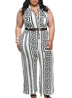 10d60b616fe Gloria Sarah Women s Belted Plunge V Neck Plus Size Wide Leg Jumpsuit Plus  Size Jumpsuit