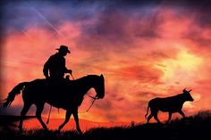 Quality abstract western art with free worldwide shipping on AliExpress Silhouette Painting, Horse Silhouette, Sunset Silhouette, Cowboy Horse, Cowboy Art, Horse Riding, Cowboy Room, Painted Horses, Old West Photos