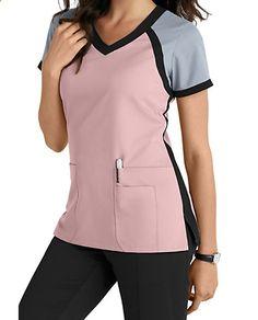 Greys Anatomy 3 Pocket Color Block V-neck Scrub Tops Main Image Más Scrubs Outfit, Scrubs Uniform, Stylish Scrubs, Cute Scrubs, Greys Anatomy Scrubs, Greys Anatomy Uniforms, Medical Uniforms, Nursing Uniforms, Hospital Uniforms