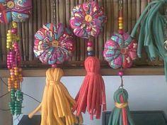 Diy Craft Projects, Diy And Crafts, Crafts For Kids, Arts And Crafts, Fabric Decor, Fabric Crafts, Bohemian Crafts, Wool Dolls, Diy Tassel