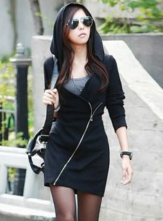 black dress hoodie