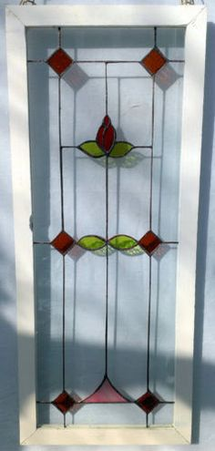Beautiful-Handmade-Red-Flower-Stained-Glass-Hanging-Window-Panel Window Privacy, Window Panels, Panel Doors, Stained Glass Door, Antique Windows, Red Flowers, Colored Glass, Window Ideas, Crafty