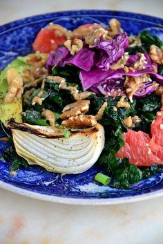Kale Avocado Salad with Creamy Almond Dressing