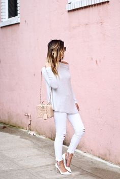 Top: for all things lovely blogger shoes bag sunglasses jewels make-up white sweater white jeans