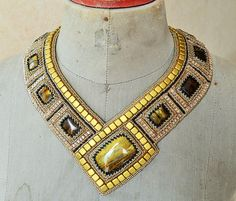 High fashion necklace beaded embroidery. Handmade