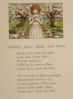 Original Antique Kate Greenaway Print dated 1900 - Vintage Victorian Colour Plate 'Gentle Jesus Meek and Mild'. Prayer. Praying. Children's prayer. Christian prayer. Christianity. God. Lambs. Sheep. Blossom. Tree blossom. Cherry blossom. Spring. Springtime. For Sale. Buy. Buy Kate Greenaway print.
