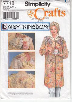 Craft Coat Daisy Kingdom Embellished Simplicity Sewing Pattern 7718 Uncut S-M-L #Simplicity7718 #CraftCoat