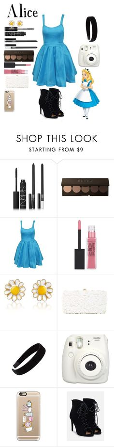 """""""Alice ( RTd)"""" by crystalgems125 ❤ liked on Polyvore featuring Disney, NARS Cosmetics, Maybelline, AZ Collection, Deux Lux, L. Erickson, Fujifilm, Casetify and JustFab"""