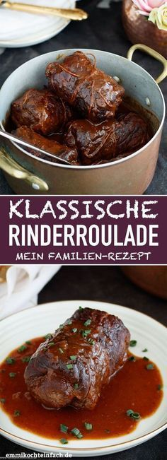 Klassische Rinderroulade - www.emmikochteinfach.de Austrian Recipes, Chefs, Finger Foods, Beef Roulade, Meat Recipes, Cooking Recipes, Spare Ribs, Gnocchi, Food Inspiration