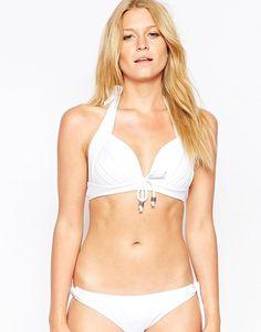 Neckholder-Bikinioberteil von Pour Moi aus Stretchmaterial für Bademode Nackenträger hebt die Brust und formt ein schönes Dekolleté weich gepolsterte Körbchen Schleifenmotiv Schnürung Handwäsche 80% Polyamid, 20% Elastan