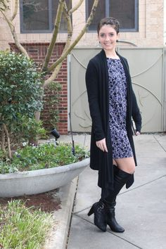 date night outfit, black otk boots