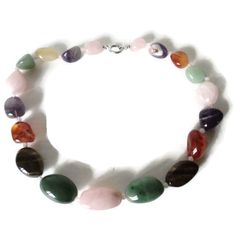 Vintage Natural Multicolor Polished Agate Chalcedony Chunky Large Necklace by EraAntiquesandFinds on Etsy