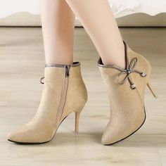 Cheap shoes comfort, Buy Quality boots pointed toe directly from China fashion boots Suppliers: AREQW Thin High Heels Fashion Boots Pointed Toe Elegant Ankle Zip Boots Cute Bowtie Female Shoes Comfortable Pumps High Heel Boots, Heeled Boots, Shoe Boots, Ankle Boots, High Heels, Women's Shoes, Golf Shoes, Buy Shoes, Nike Shoes