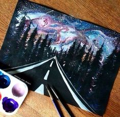 30 Startling Acrylic Galaxy Painting Ideas – looking_for_shootingstars - Space Beautiful Drawings, Cool Drawings, Art Sur Toile, Galaxy Art, Diy Galaxy, Painting & Drawing, Space Painting, Road Painting, Forest Painting