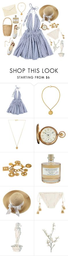 """""""SANTORINI"""" by thatmiumiu ❤ liked on Polyvore featuring Soludos, LoveShackFancy, Susan Caplan Vintage, Vanessa Mooney, Howard, Library of Flowers, Helen Kaminski, SHE MADE ME and Pier 1 Imports"""