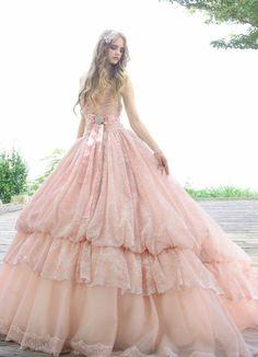 Dreamy Pink Princess Wedding Dress