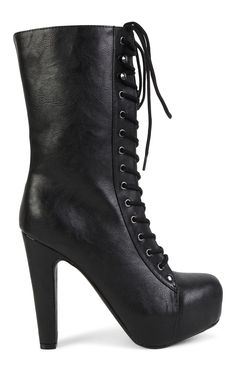 Deb Shops Tall Platform High Heel Boot with Laced Front $30.00
