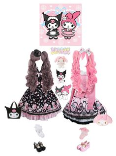 """Kuromi ♥ My Melody"" by everysimpleplan ❤ liked on Polyvore featuring John Lewis, Tarina Tarantino, Hello Kitty, Pink, lolita, kawaii, SweetLolita and sanrio"