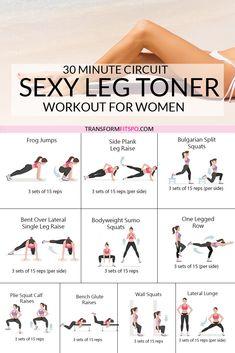 Leg Toner Workout, Slim Legs Workout, Killer Leg Workouts, Leg Workout At Home, Curves Workout, Waist Workout, Extreme Workouts, Leg Workout Routines, Toning Legs